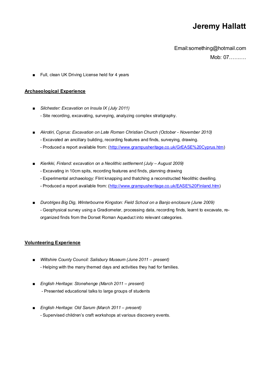 tips for an archaeology resume cv if you just graduated or are