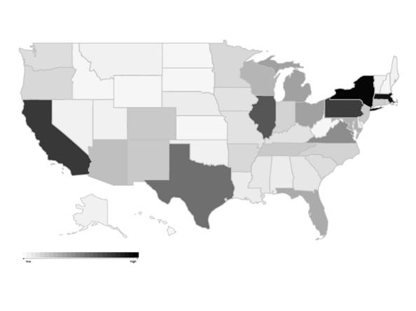 Number of NEH Grants for Archaeology by State
