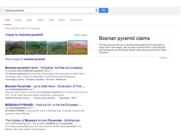 Google Results for Bosnian Pyramid