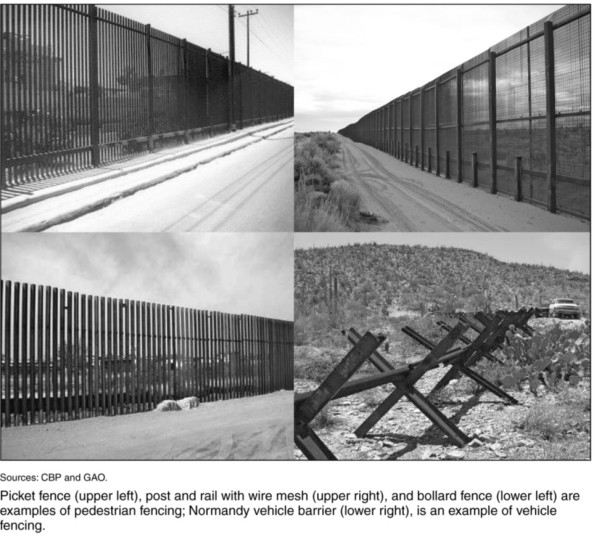 images of US/Mexico fences and vehical barriers